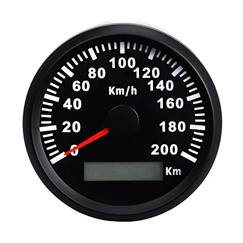 Car Modified GPS Wasserdicht Entfernungsmesser 85mm Edelstahl-Digital-Tachometer 200 km/H Kilometerzähler