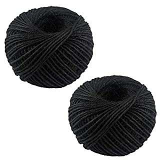 100M/Roll 2mm Natural Jute Rope Hemp Twine Strong Cord Thick Rope String for DIY Craft Home Garden Deco (Black-2pcs)