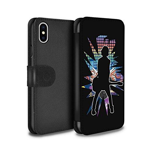 Stuff4 Coque/Etui/Housse Cuir PU Case/Cover pour Apple iPhone X/10 / Rock n Roll Noir Design / Rock Star Pose Collection émotion Noir
