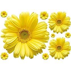 Ruikey 1 Unids Personalidad Pegatinas de Pared Margarita Amarilla Extraíble Arte Pegatina de Pared Tatuajes de Pared Decoración Para El Hogar para Salón Dormitorio