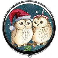 LinJxLee owl in Santa hat Portable Round Pill Case Pill Box Medicine Box Medicine Tablet Vitamin Organizer for... preisvergleich bei billige-tabletten.eu