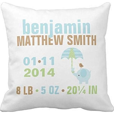 Blue and Green Elephant Baby Birth Announcement Throw pillow case 18*18