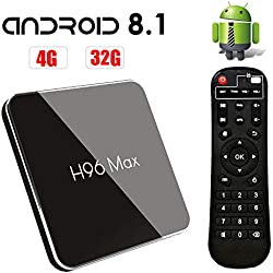 Android 8.1 TV Box H96 Max X2 Smart TV Box 4GB RAM 32GB ROM Amlogic S905X2 Quad Core CPU Boîtier TV, 2019 Nouveau Set Top Box Support 4K Ultra HD 2.4G/5GHz WiFi 100M LAN 3D H.265 Bluetooth