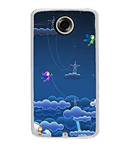 Butterflies in Clouds 2D Hard Polycarbonate Designer Back Case Cover for Motorola Nexus 6 :: Motorola Nexus X :: Motorola Moto X Pro :: Motorola Google Nexus 6