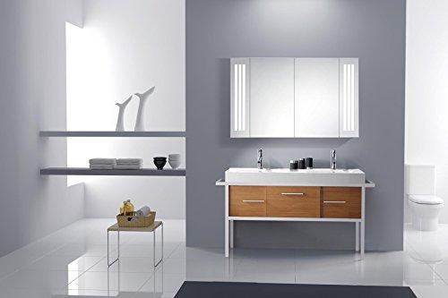 Eurosan 2-türiger Spiegelschrank, Superflach, Integrierte LED-Frontbeleuchtung, Breite 100 cm, Weiß, Sydney, S100 - 6
