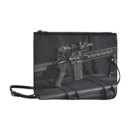 SHAOKAO Gewehre der Gun Enthusiasts Pattern Benutzerdefinierte hochwertige Nylon-Slim-Clutch-Tasche Umhängetasche mit Umhängetasche -