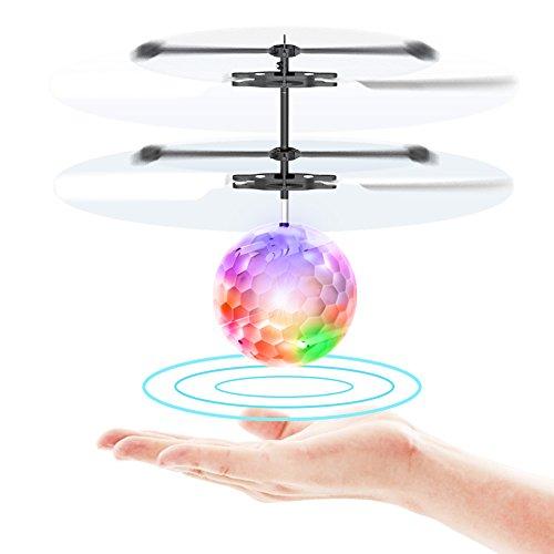 TOYK Fliegender Ball Toys RC Spielzeug für Kinder Jungen Mädchen Geschenke Wiederaufladbare Leuchten Ball Drone Infrarot Induktion Hubschrauber mit Fernbedienung für Indoor- und Outdoor-Spiele
