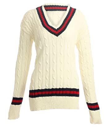Womens Chunky Cable Knitted Ladies Cricket Jumper / Size 8-14 - £14.99 (One Size - Fits Uk(8-14), Cream)
