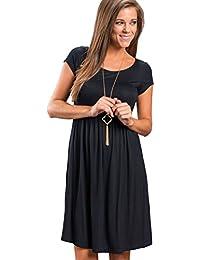 Vestidos Sueltos Cortos Mini Vestido de Verano Casuales Mujer Vestidos  Playeros Sencillos para Fiesta Noche de Dia Señora Vestido Manga… 51a84b3fefef