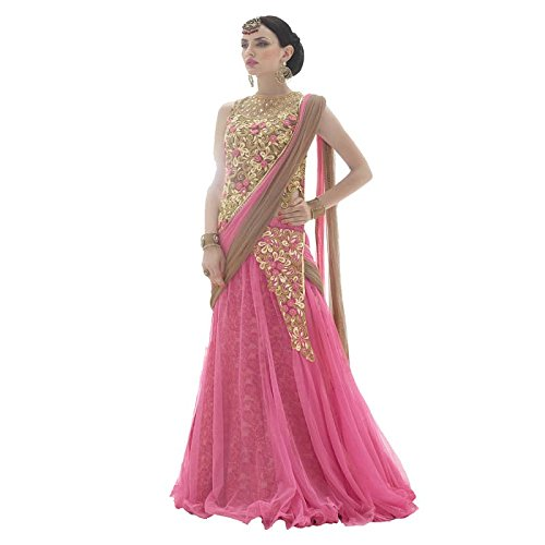 Ethnic Wings Women's Net Dress Material (718-718_Free Size_Pink)