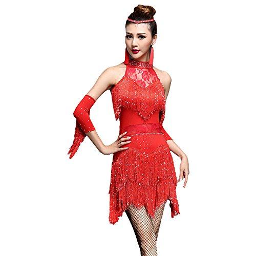 ZooBoo Damen Latein Tanz Kleider - Modern Dance Latin Party Gesellschaftstänze Dekoration Zubehör Pailletten Quasten Tanzkleid Trikot Rock Kostüm Bekleidung für Frauen (Rot, L) (Jive Tanz Kostüm)