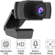 1080P Full HD Webcam with Mic, PC Laptop Desktop USB Webcams, Pro Streaming Computer Camera for Video Calling,