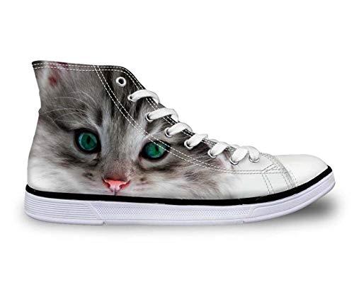 Cute Cat Hi Top Women Men Canvas Trainers Shoes Flat Lace Up Plimsolls Pumps CA4892AK. UK 10.5\u002FEU44