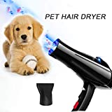 YLXD Dog Dryer Professional Pet Hair Dryer, Pet Supplies 2800w, A Powerful but Quiet, Variable Speed Pet Grooming Hairdryer, High Velocity Blaster Fur Blower, for dogs and cats (black)