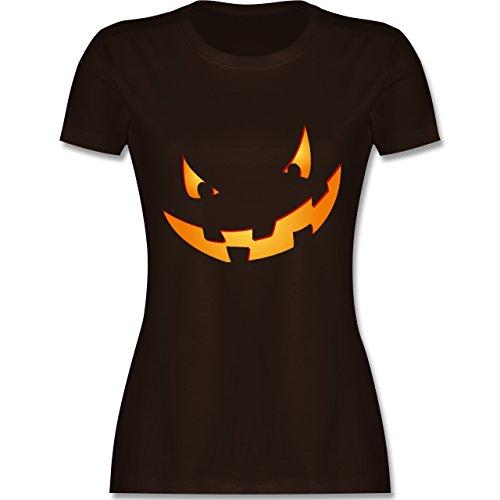 Halloween - Kürbisgesicht klein Pumpkin - XXL - Braun - L191 - tailliertes Premium T-Shirt mit Rundhalsausschnitt für Damen