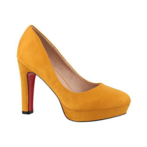 Elara Damen Pumps | Bequeme High Heels | Vintage-Style | Abendschuh Trendy | Chunkyrayan | E22360 Yellow-40
