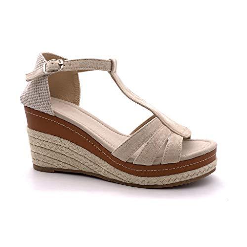 Angkorly - Scarpe Moda Sandali Espadrillas Cinturino Aperto con Cinturino alla Caviglia Donna Cinghie con Paglia Intrecciato Tacco Zeppa 8 CM - Beige 4 FL32 T 37
