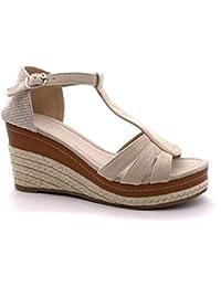 02bd83d626a Angkorly - Zapatillas Moda Sandalias Alpargatas Correa de Tobillo  Plataforma Mujer Cuerda Trenzado Tanga Plataforma 9