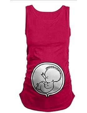 Botetrade Womens Maternity T-shirt sans manches en coton lâche Elasticité souple enceinte Vest avec motif bébé