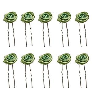 10 Stück Satin Rosen Grün Blumen Haarnadeln Haarschmuck Hochzeit Braut