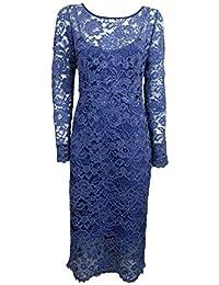 Liu Jo Abito Vestito da Donna in Pizzo -70% Celeste Polvere Inverno c66015 b6d6ac49a33