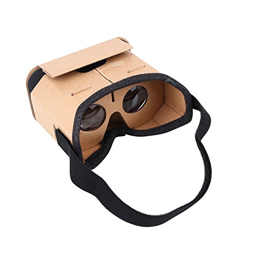 Cewaal Goggles Pappe Headset 3D Virtual Reality VR Brillen für Android Smartphone iPhone + NFC und Kopfband Brown