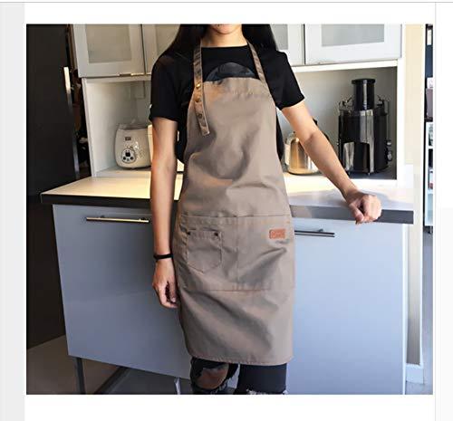WGXCC Leinwand Baumwolle Schürzen Küche Kochen Grill Arbeiten Tee Shop Cafe Bar Uniform Für Frau Männer Ledergurte Jardin Tee