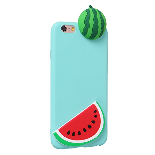 iPhone 6S 3D Silikon Hülle Rosa Schleife Weiche Silikon Back Cover 3D Niedlich Frucht Muster Bumper Handyhülle Schale für iPhone 6 / 6S Banane Wassermelone