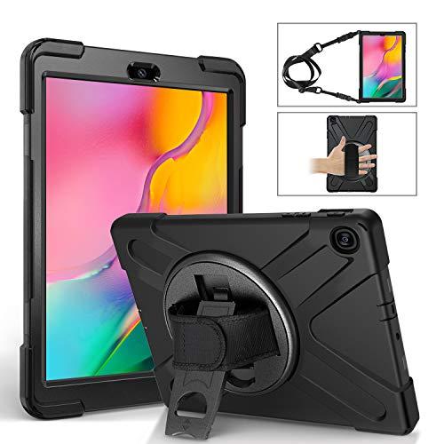 EasyAcc Stoßfest Hülle Für Samsung Galaxy Tab A 10.1 2019 T510 T515, 360 Grad drehbar Ständer, Handgurt und Schultergurt mit Stoßabweisende 3 in 1 Silikon + PC Hybrid Schwere Pflicht Cover, Schwarz