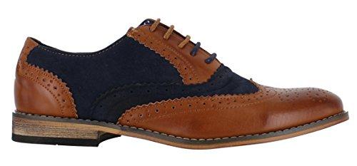 Scarpe Da Uomo Classiche Da Uomo, Finte Scamosciato, Eleganti E Formali, Scarpe Stringate Casual Marrone / Blu Navy