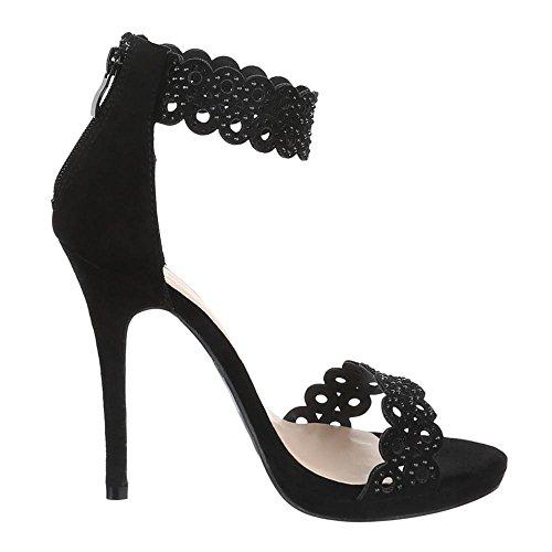 Chaussures pour femme, 99Lunettes de pompes strass décoratif Talon Haut Sandaletten Noir - Noir