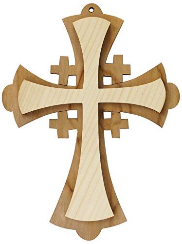 Kaltner Präsente Geschenkidee - Wandkreuz Echtes Holz Kreuz Fichte Kruzifix für die Wand 16 cm modern gefertigt im Grödner Tal Südtirol