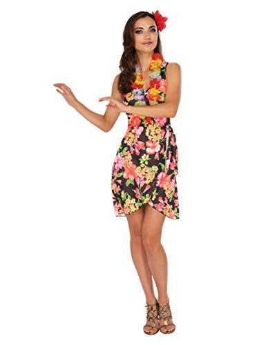 Horror-Shop Sommerliches Hawaii Kleid mit Blumenkette - Blumige Kleid Kostüm