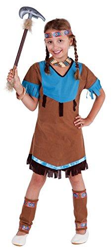 Blaue Mädchen Kostüm Piraten - Magicoo Indianerin Squaw - Indianer Kostüm Mädchen + Kopfschmuck + Beinstulpen - Indianerin Kostüm Kinder (110/116)