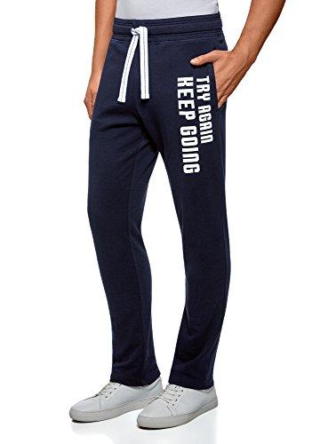 oodji Ultra Uomo Pantaloni in Maglia con Coulisse, Blu, IT 40/XS