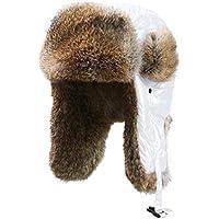 Piel de conejo blanca Lei Feng Hat Mujer Otoño e Invierno Sombrero de algodón grueso Marea exterior Orejeras de piel de imitación Casquillo a prueba de viento ( Color : Blanco , tamaño : One size )