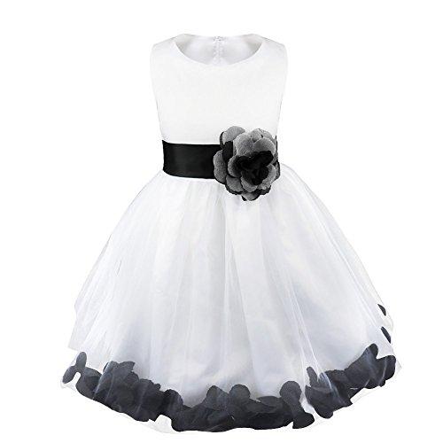 iEFiEL Mädchen Kleid Pinzessin Blumen-Mädchen Kinder Weiß Kleid Hochzeit Festkleid Kommunionkleid 92 98 104 110 116 128 140 152 164 Schwarz 98