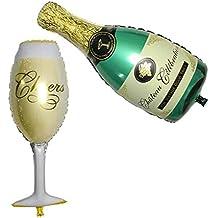 Elenxs Decoración Decoración de la Botella de champán Copa Cerveza Papel de Aluminio Partido Balón de