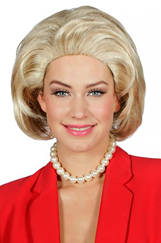 Blonde Hillary Clinton Perücke für Erwachsene Föhnfrisur Politikerin USA mittellang - Halloween Perücken Usa