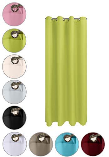 WOMETO Vorhang mit rostfreien Ösen Blickdicht 140x245 Türvorhang - grün waschbar