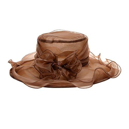 Butterme Mujer Kentucky Derby Sombrero lazos Iglesia Sombrero Tocado Flores Grande Ala Ancha Gorro de gasa Headdress marrón café