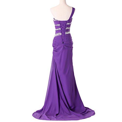 Bridal_Mall Damen Ein-Schulter Abendkleider Lang mit Strasssteinen Chiffon Elegant Prom Ballkleid Violett