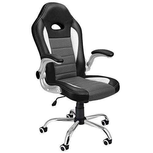 Bürostuhl Flex Grau PU Leder Chefsessel Schreibtischstuhl Drehstuhl Gamingstuhl Bürodrehstuhl Race Design ✔verstellbare Armlehnen ✔Farbauswahl
