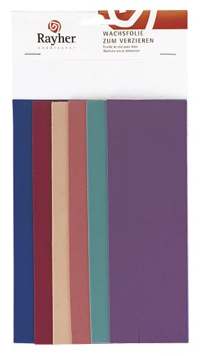 Rayher 3102500 Verzierwachs, Fashion-Töne, Set 6 Verzierwachsplatten, Farben sortiert, je 20 x 6,5 cm, Wachs zum Kerzen verzieren, Kerzenwachs, Wachsfolie