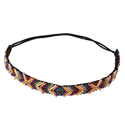 Femme Boho Multicolore Bandeau Perle Elastique Hairband Bijoux de Cheveux