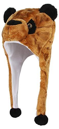 DEMU DEMU Tiermütze Wintermütze Hut Kopfbedeckung Wintermütze Karneval mit Ohrenklappen Braun Bär