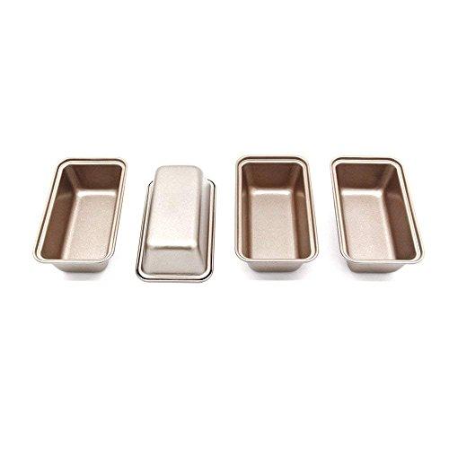 4 Brotbackform, Klein,antihaftbeschichtet, stahl, 12 cm x 5.3 cm(Farbe: Golden), Menge: 4 Stück