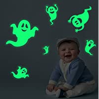 Lamdgbway Halloween Luminous Wall Windows Stickers Glow In The Dark Ghosts Pumpkins Bats Ghost-Hands Decals Fluorescent Stickers Creative Luminous Wall Decorative