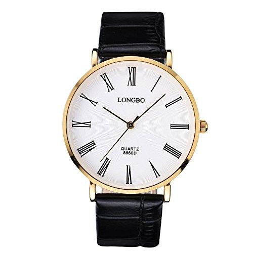 XXFFH Reloj Casual Digital Mecánica Solar Reloj Ultra Delgado Simple Y Casual Cuero Correa Cuarzo Hombre , A