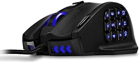 Souris laser de jeu MMO UtechSmart Venus 50 à 16400 DPI pour PC, précision élevée, 18 boutons programmables, cartouche de poids réglable, 12 boutons latéraux, 5 profils d'utilisateurs programmables, microrupteurs Omron, plus de 16 millions d'options de couleurs LED personnalisées pour les boutons latéraux, roulette de défilement, Logo & éclairage principal [18-mois de garantie offerts par le fabricant]